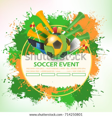 Soccer Poster Template Paper Art Style Vector Banner Info Postcard And Sports Ad Web Elements