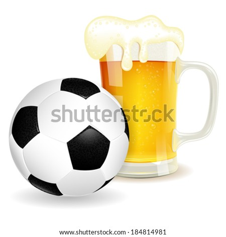 Soccer Poster with Ball and Glass of Beer, vector isolated on white background - stock vector