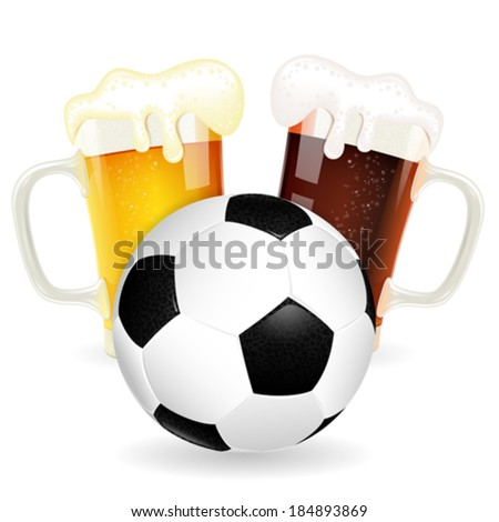 Soccer Poster with Ball and Glasses of Beer, vector isolated on white - stock vector