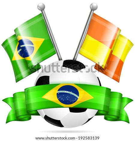 Soccer Poster with Soccer Ball, Flags, and Ribbon in Color Flag Brazil, vector isolated on white background - stock vector
