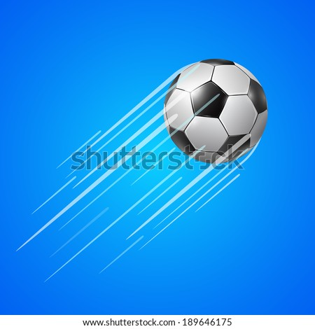 Soccer realistic ball  with a long speed trail behind it, vector illustration on blue background - stock vector