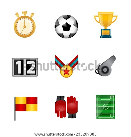 Soccer realistic icons set with stopwatch football ball victory cup isolated vector illustration - stock vector