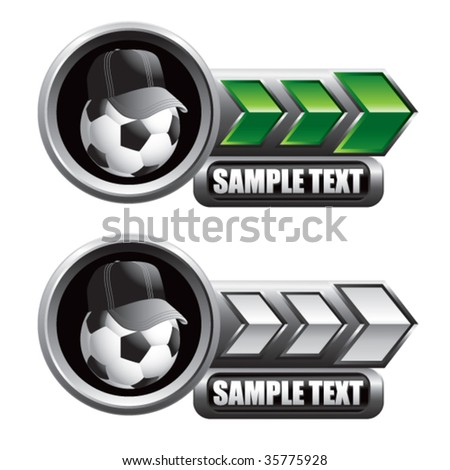 soccer referee ball on arrow banners - stock vector