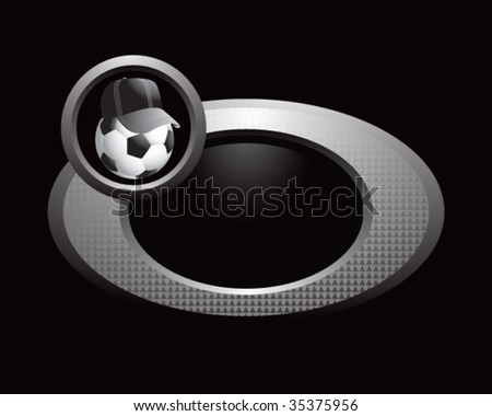 soccer referee ball on circle banner - stock vector