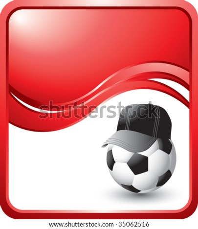 soccer referee ball on red wave background - stock vector