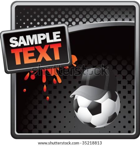 soccer referee ball on splat banner - stock vector