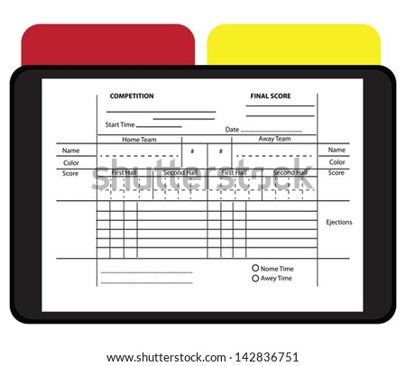 Soccer Referee Data Set with yellow and red cards. Vector illustration. - stock vector