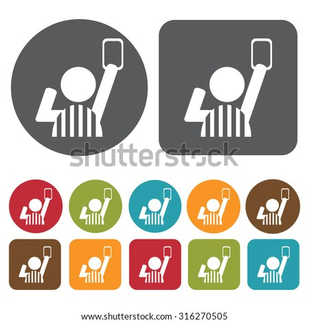 Soccer referee giving red card icons set. Vector Illustration eps10.  - stock vector