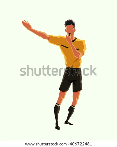 soccer referee signaled a penalty. vector illustration with sport character - stock vector