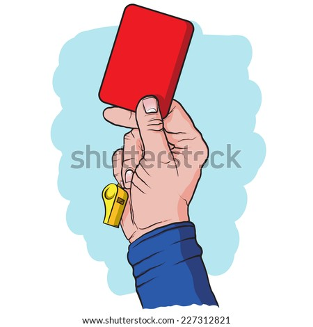 Soccer referees hand with red card, hand drawn, vector illustration - stock vector