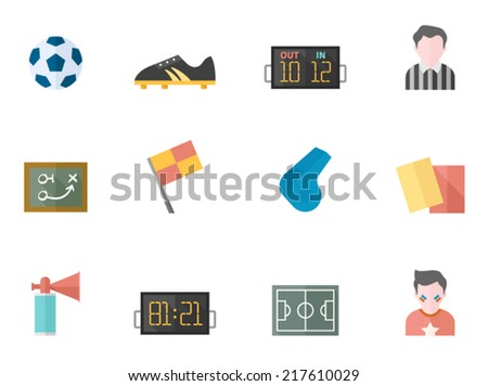 Soccer related icon series in flat colors style. - stock vector