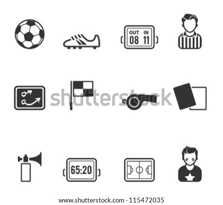 Soccer related icon series in single color - stock vector