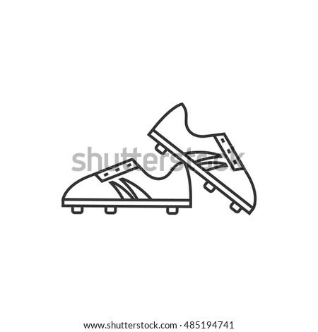 Soccer shoe icon in thin outline style. Sport football foot protection