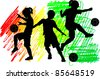 Soccer Silhouettes Kids Boys and Girls - stock vector
