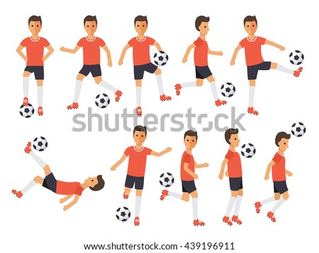 Soccer sport athletes, football players playing, kicking, training and practicing football. Flat design people characters. - stock vector