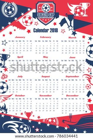 Soccer Sport Game Calendar Template Football Stock Vector Hd