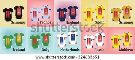 Soccer Sports Uniform Set. Various Colorful T-shirts for Football Teams. Sportswear Fashion illustration on a colorful backdrop. Isolated vector objects of clothes. - stock vector