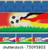 Soccer stadium advertising board with ball and some country national colors. - stock photo