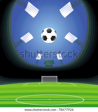 Soccer stadium and field with goal. - stock vector