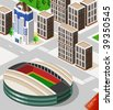 Soccer Stadium Isometric - stock vector