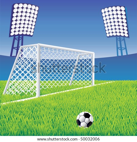 Soccer stadium  with detailed goal. Vector illustration. - stock vector