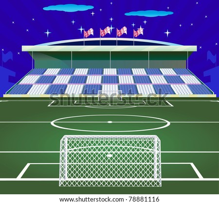 Soccer stadium  with field. - stock vector