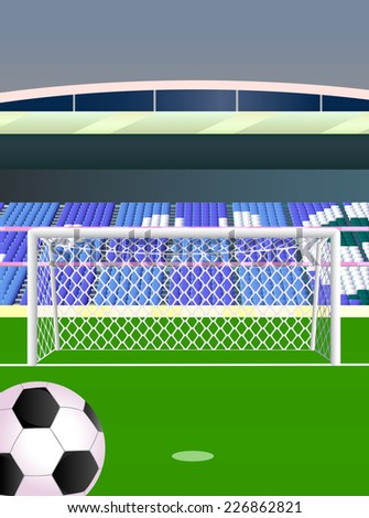 Soccer stadium with goal. - stock vector