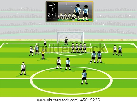 Soccer  stadium with information board and  teams on field. Vector illustration. - stock vector