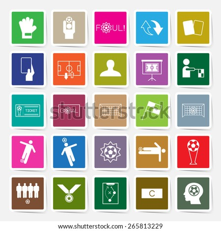 Soccer sticker icons set vector illustration - stock vector