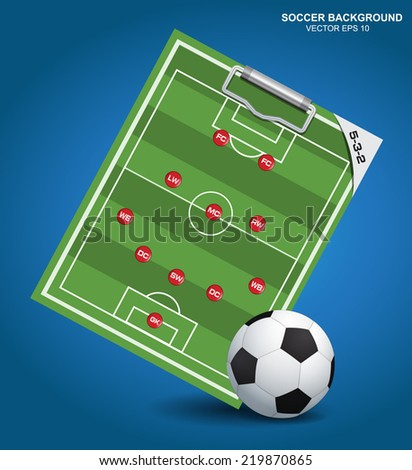 Soccer strategy formation type with soccer ball - stock vector