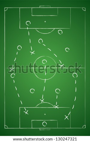 Soccer tactic table. Defensive. Vector illustration - stock vector