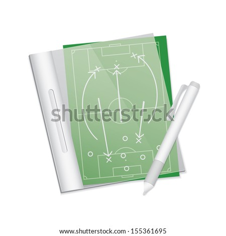 Soccer tactic table in note. Vector illustration - stock vector