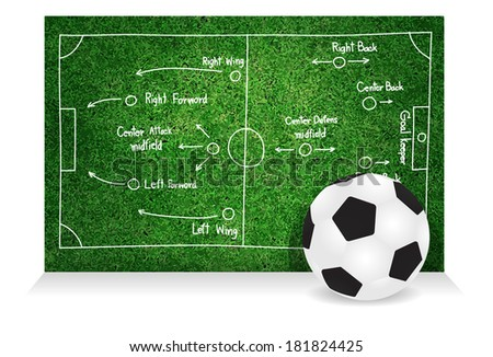 Soccer tactics and strategies, Creative drawing soccer game success strategy plan idea vector illustration template design - stock vector