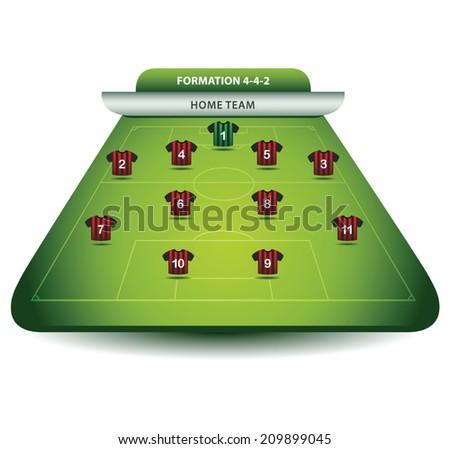 Soccer team formation - stock vector
