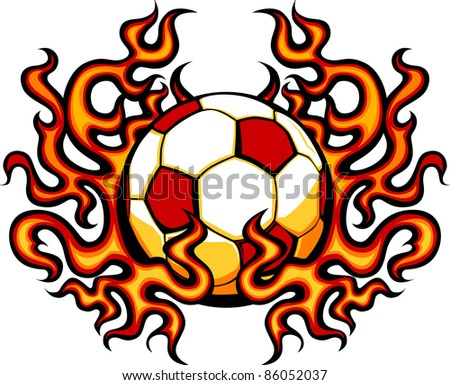 Soccer Template with Flames Vector Image - stock vector