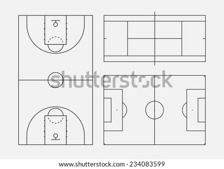Soccer, tennis and basketball fields. Vector illustration, eps 8. - stock vector