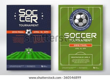Soccer tournament modern sports posters design. Vector illustration. - stock vector