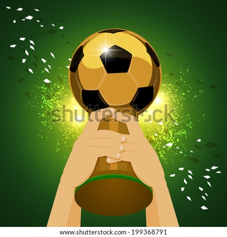Soccer Trophy for Champion with green background - stock vector