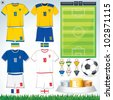 Soccer Vector Collection. Euro 2012 Group D. Swedish, Ukrainian, French, English Teams. - stock vector