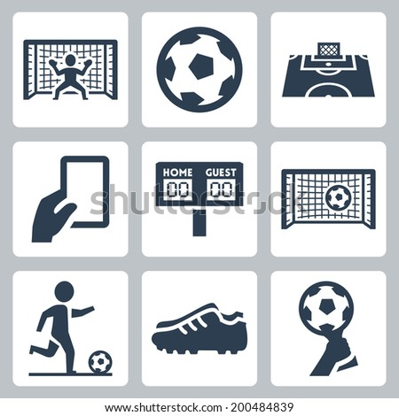 Soccer vector icons set - stock vector