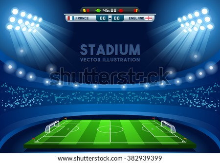 Soccer Vector Stadium Score Board Empty Field Background. Olympic Stadium Nocturnal View Illustration. Paralympic Building Image.Rio Brasil 2016 France International Football European Championship Cup