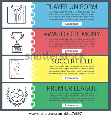 Soccer Web Banner Templates Set Football Stock Vector 621176897 ...
