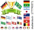 Soccer World Championship 2014 Collect with Flags, Gold Cup, Ribbon and Flags, isolated vector. Part 1 of 4. - stock photo