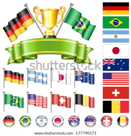 Soccer World Championship 2014 Collect with Flags, Gold Cup, Ribbon and Flags, isolated vector. Part 1 of 4. - stock vector