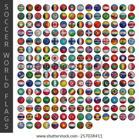 soccer world flags - stock vector