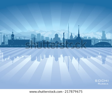 Sochi Russia skyline city silhouette Vector illustration - stock vector