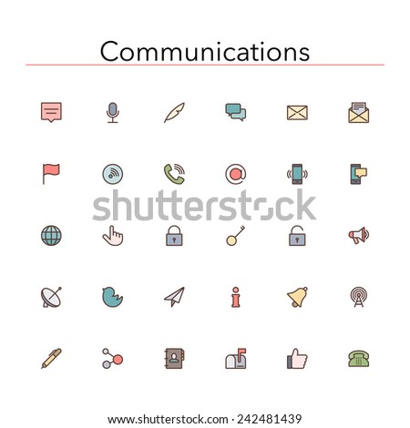 Social and communications colored line icons set. Vector illustration. - stock vector