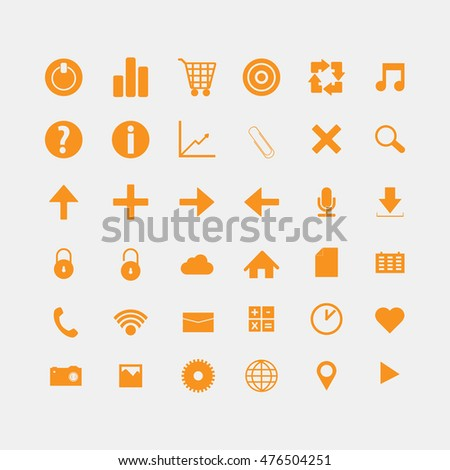 Social and media orange icons