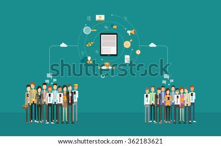 social business connection on mobile .business  on-line marketing .business network .cloud network .group people. business communication .mobile connected concept - stock vector