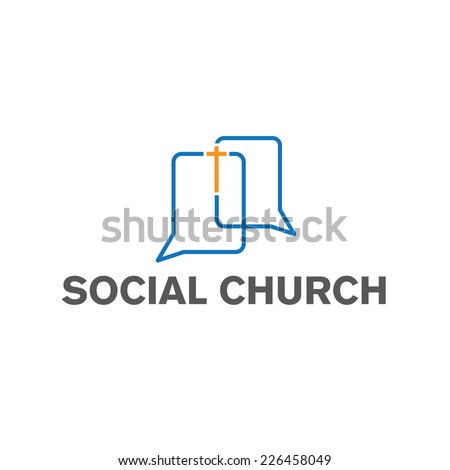 social church vector design template - stock vector